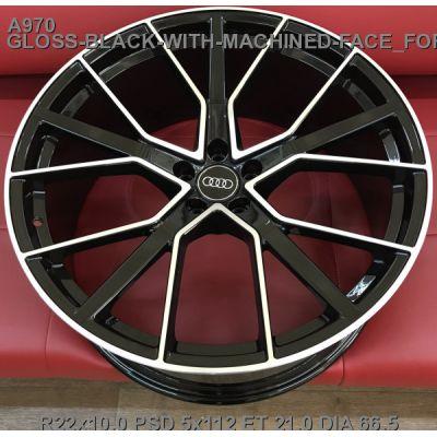 Диски Replica Audi (A970) 10x22 5x112 ET21 DIA66,6 (gloss black machined face)
