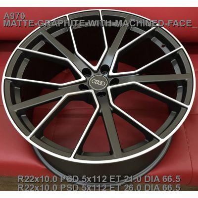 Диски Replica Audi (A970) 10x22 5x112 ET21 DIA66,6 (matt graphite machined face)