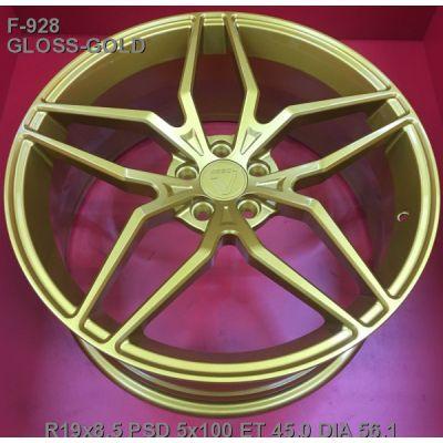 Диски Vissol F-928 8,5x19 5x100 ET45 DIA56,1 (gloss gold)