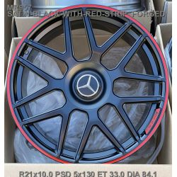 Mercedes (MR957) satin black red stripe
