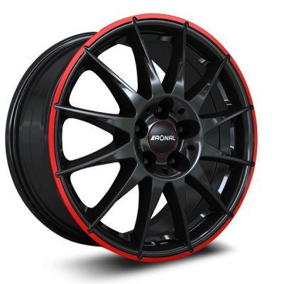 R54 jet black red rim