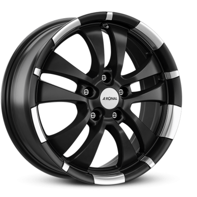 Диски Ronal R59 7x16 5x112 ET40 DIA76 (jet black matt rim lip diamond cut)