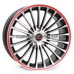 R188 matt black machined red lip